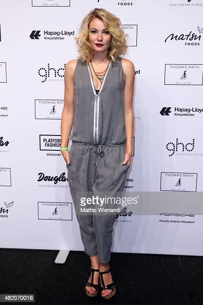 Amelie Klever arrives for the Thomas Rath show during Platform Fashion July 2015 at Areal Boehler on July 26 2015 in Duesseldorf Germany