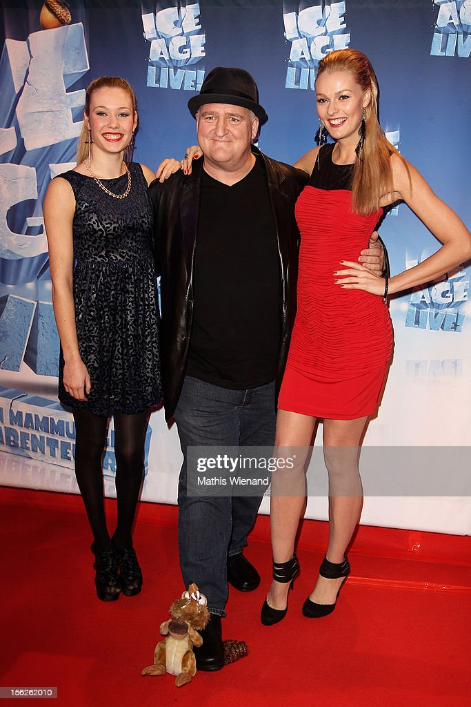 Amelie Klever, Markus Maria Profitlich and Miriam Hoeller attend the Ice Age Live! gala premiere at ISS Dome on November 12, 2012 in Duesseldorf, Germany.