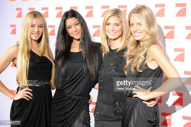 Amelie Klever Rebecca Mir Heidi Klum and Jana Beller pose during the finalists photocall of 'Germany's Next Topmodel' at the LanxessArena on June 07...