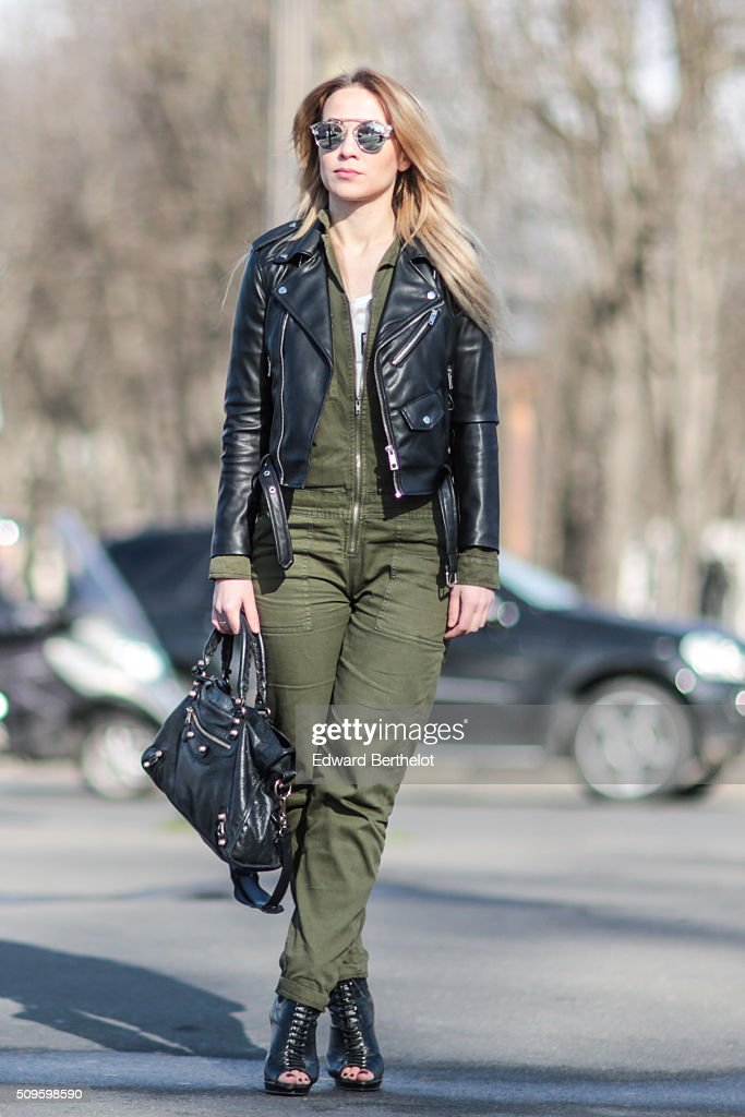 Amelie Lloyd wearing Jennyfer suit and top, a Zara perfecto jacket, a Balenciaga bag, Dior sunglasses and vintage shoes during a streetstyle session on February 11, 2016 in Paris, France.
