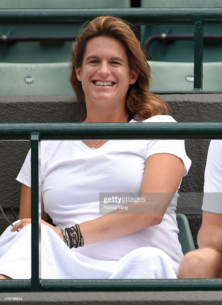 Amelie Mauresmo attends the Robin Hasse v Andy Murray match on day four of the Wimbledon Tennis Championships at Wimbledon on July 2, 2015 in London, England.