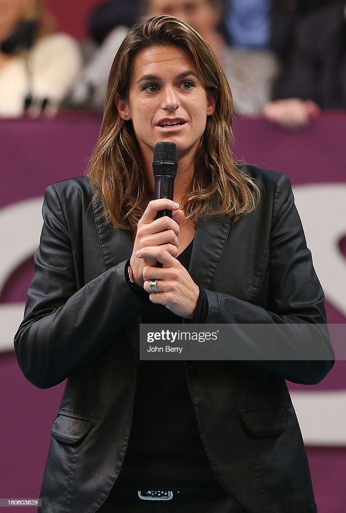 <a gi-track='captionPersonalityLinkClicked' href=/galleries/search?phrase=Amelie+Mauresmo&family=editorial&specificpeople=161389 ng-click='$event.stopPropagation()'>Amelie Mauresmo</a>, director of the tournament during the trophy ceremony after the final of the Open GDG Suez 2013 at the Stade Pierre de Coubertin on February 3, 2013 in Paris, France.