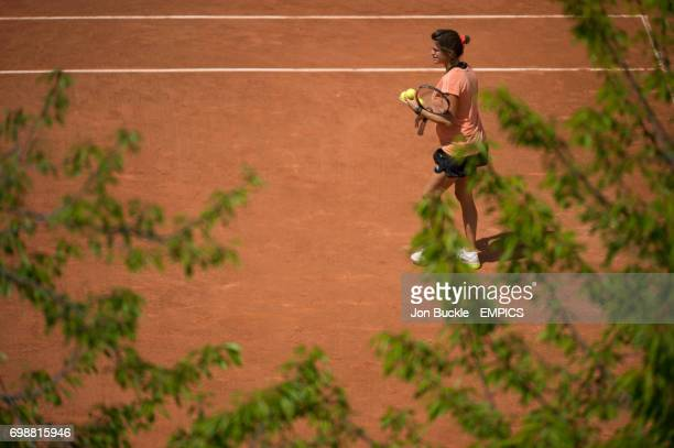 Amelie Mauresmo during Andy Murray practice session on Court 12 on day one of the French Open at Roland Garros on May 24 2015 in Paris France