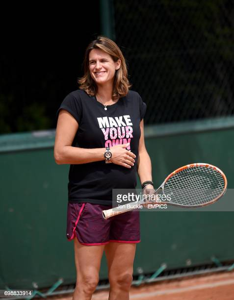 Amelie Mauresmo during Andy Murray's practice on day six of the French Open at Roland Garros on May 29 2015 in Paris France