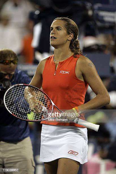 Amelie Mauresmo during her third round match against Mara Santangelo at the 2006 US Open at the USTA Billie Jean King National Tennis Center in...