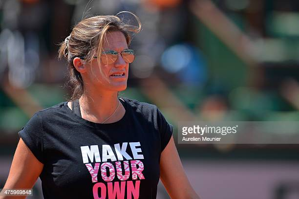 Amelie Mauresmo French coach of Andy Murray during practice before his Men's semi final match on day thirteen of the 2015 French Open at Roland...