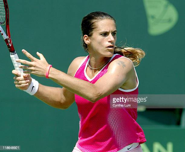 Amelie Mauresmo into semifinal at the Nasdaq100 Open in Key Biscayne FL defeating Ana Ivanovic 61 64 in their quarter final match on March 30 2005