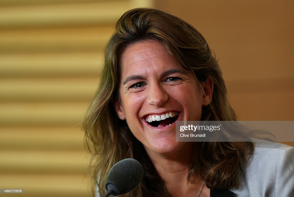 <a gi-track='captionPersonalityLinkClicked' href=/galleries/search?phrase=Amelie+Mauresmo&family=editorial&specificpeople=161389 ng-click='$event.stopPropagation()'>Amelie Mauresmo</a> laughs during a press conference after being appointed as Andy Murray of Great Britain's new coach on day fifteen of the French Open at Roland Garros on June 8, 2014 in Paris, France.