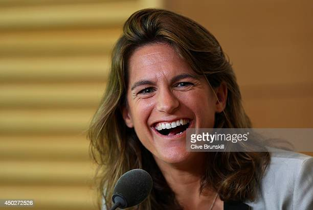 Amelie Mauresmo laughs during a press conference after being appointed as Andy Murray of Great Britain's new coach on day fifteen of the French Open...