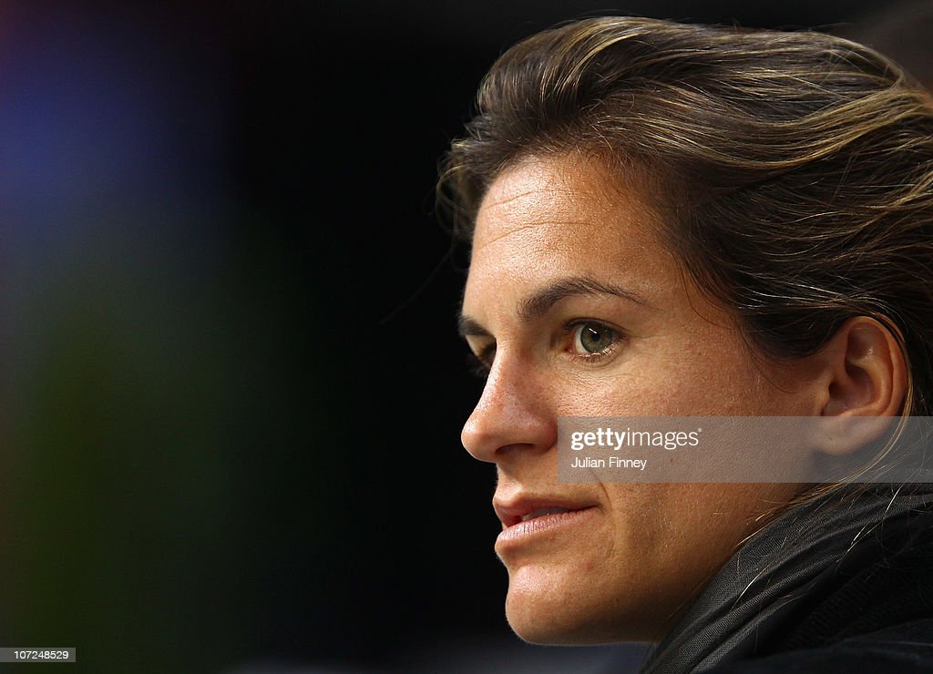Amelie Mauresmo of France attends the french team practice session at the Begrade Arena on December 2, 2010 in Belgrade, Serbia.