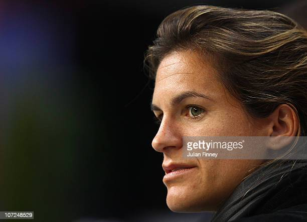 Amelie Mauresmo of France attends the french team practice session at the Begrade Arena on December 2 2010 in Belgrade Serbia