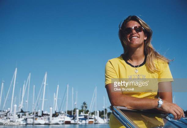 Amelie Mauresmo of France poses for a portrait driving a power speedboat off the coast of Miami during the ATP Lipton Tennis Championship on 10 March...