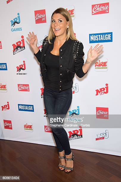Amelie Neten poses at the Photocall of NRJ Group at Musee du Quai Branly on September 14 2016 in Paris France