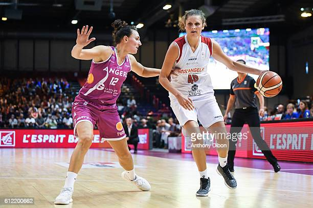 Amelie Pochet of Angers and Romy Bar of Nice during the Open LFB match between Nice and Angers on October 1 2016 in Paris France