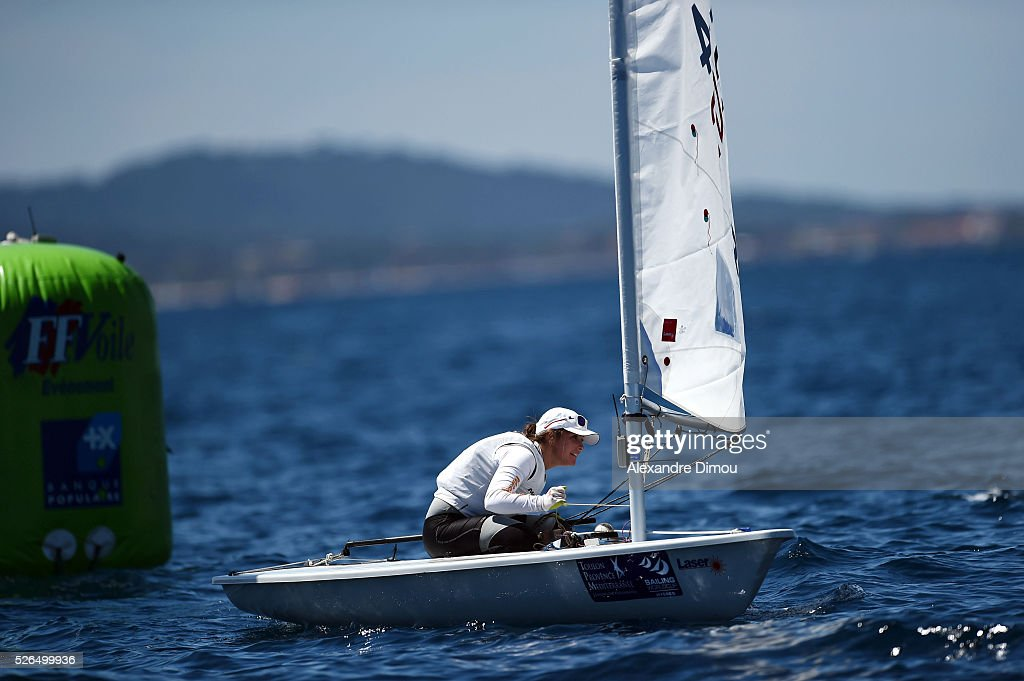 Amelie Riou of France competes in the race boat laser during the Sailing World Cup on April 30, 2016 in Hyeres, France.