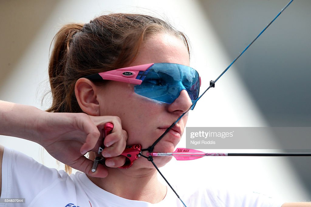 Amelie Sancenot of France shoots during the Womens Compound Bronze medal match at the European Archery Championship on May 28, 2016 in Nottingham, England.