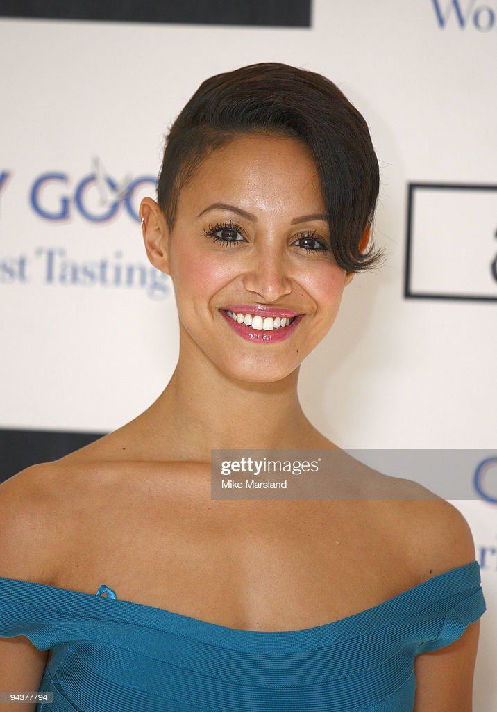 Amelle Berrabah attends the Grey Goose Character Cocktails winter fundraiser in aid of the Elton John AIDS Foundation at The Grosvenor House Hotel on...