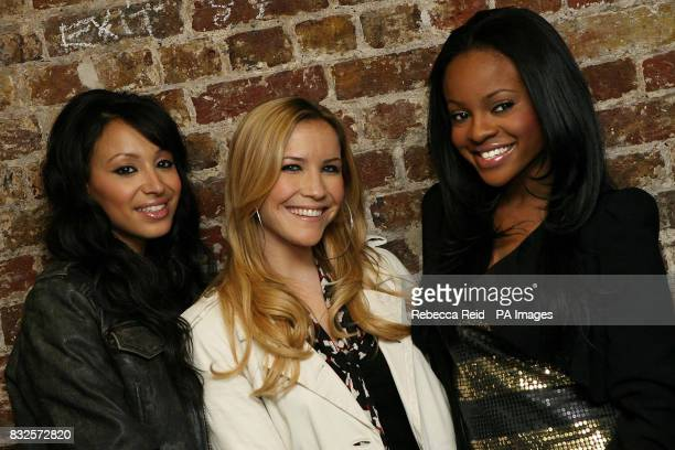 Amelle Berrabah Heidi Range and Keisha Buchanan of pop group the Sugababes backstage at the Camden Roundhouse in North London