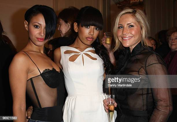Amelle Berrabah Jade Ewen and Heidi Range of the girl band Sugababes attend London Fashion Week Autumn/Winter 2010 on February 21 2010 in London...