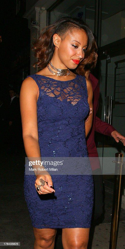 Amelle Berrabah leaving Mahiki night club on August 29, 2013 in London, England.