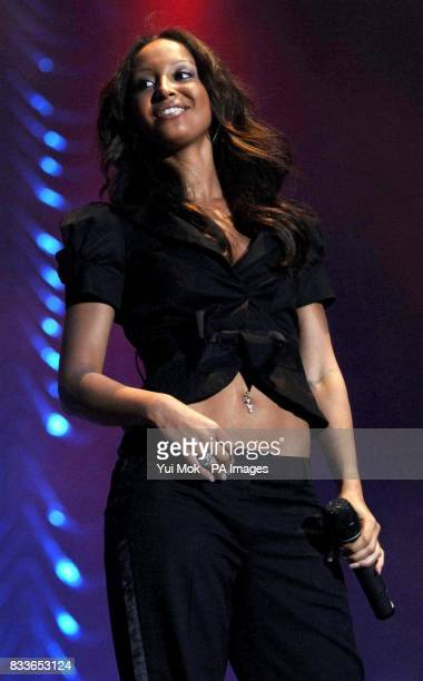 Amelle Berrabah of the Sugababes perform in concert as part of the Dock Rock series of gigs from Canary Wharf east London