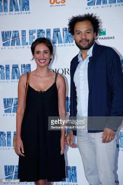 Amelle Chahbi and Fabrice Eboue attend 'Valerian et la Cite des Mille Planetes' Paris premiere at La Cite Du Cinema on July 25 2017 in SaintDenis...