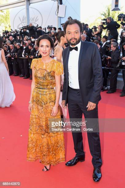 Amelle Chahbi and Fabrice Eboue attends the 'Okja' premiere during the 70th annual Cannes Film Festival at Palais des Festivals on May 19 2017 in...