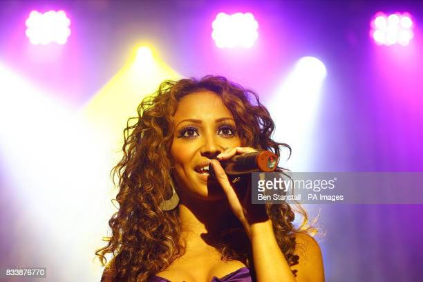 Amelle of The Sugababes performs at the launch party for the new Purple Phone for 3 Central London