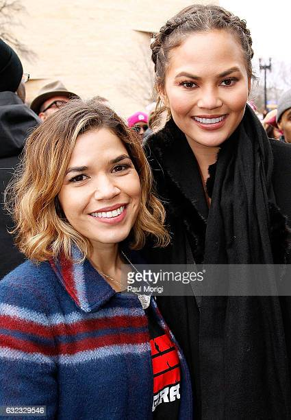 America Ferrara and Chrissy Teigen pose for a photo at the Women's March on Washington on January 21 2017 in Washington DC