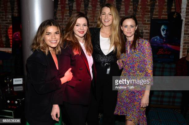 America Ferrera Amber Tamblyn Blake Lively and Alexis Bledel attend the 'Paint It Black' New York premiere after party at Fishbowl at the Dream Hotel...