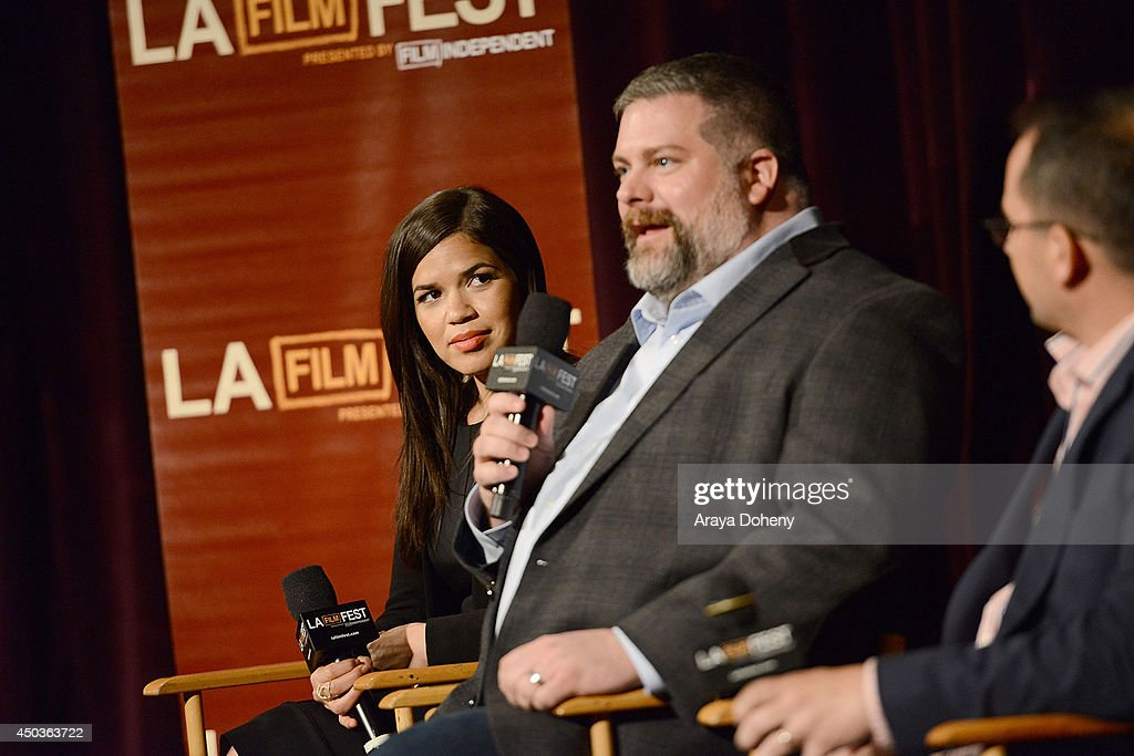 <a gi-track='captionPersonalityLinkClicked' href=/galleries/search?phrase=America+Ferrera&family=editorial&specificpeople=216393 ng-click='$event.stopPropagation()'>America Ferrera</a> and <a gi-track='captionPersonalityLinkClicked' href=/galleries/search?phrase=Dean+DeBlois&family=editorial&specificpeople=3345373 ng-click='$event.stopPropagation()'>Dean DeBlois</a> attend the LA Film Festival pre-festival screening and Q&A of 'How To Train Your Dragon 2' at Regal Cinemas L.A. Live on June 9, 2014 in Los Angeles, California.