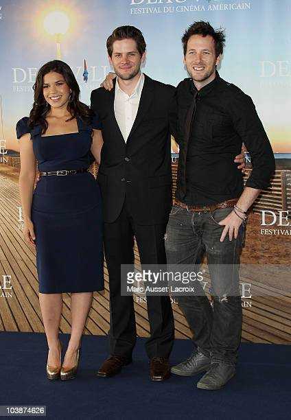 America Ferrera and Ryan Piers Williams and Ryan O Nan poses for the Photocall of the movie ' The Dry Land' during the 36th Deauville American Film...