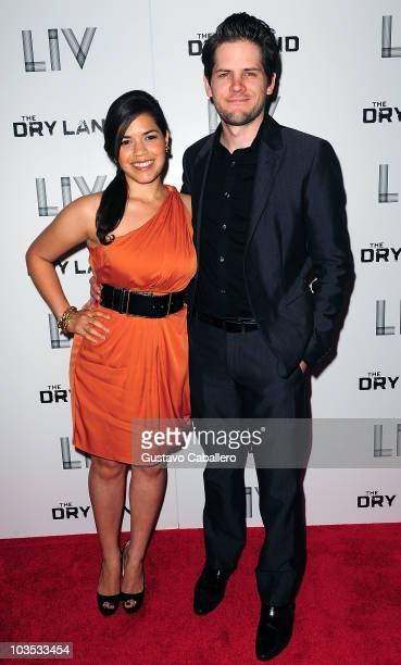 America Ferrera and Ryan Piers Williams attends Miami Premiere Screening of 'The Dry Land' at Colony Theater on August 21 2010 in Miami Beach Florida