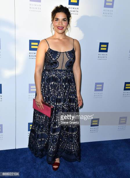 America Ferrera arrives at the Human Rights Campaign's 2017 Los Angeles Gala Dinner at JW Marriott Los Angeles at LA LIVE on March 18 2017 in Los...