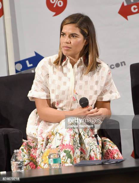 America Ferrera at the 'The Power Vote Latinos' Crucial Role in the 2018 and 2020 Elections' panel during Politicon at Pasadena Convention Center on...