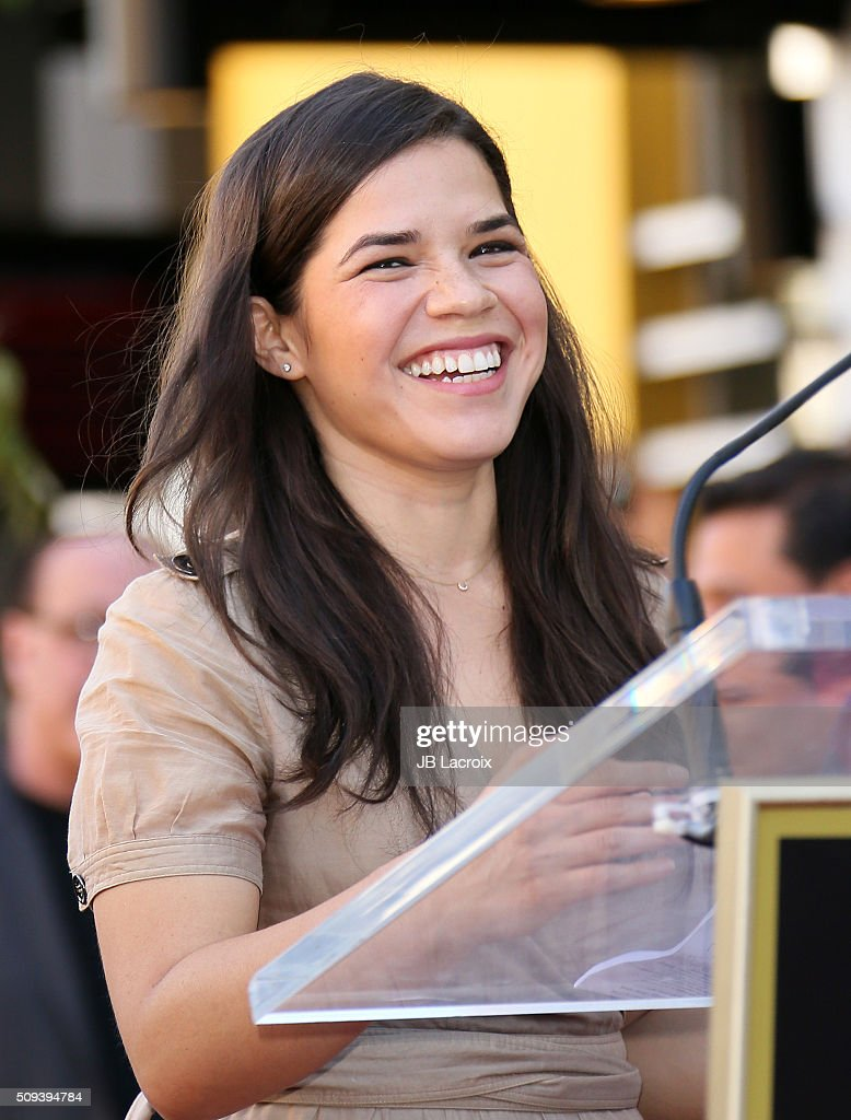 <a gi-track='captionPersonalityLinkClicked' href=/galleries/search?phrase=America+Ferrera&family=editorial&specificpeople=216393 ng-click='$event.stopPropagation()'>America Ferrera</a> attends a ceremony honoring the rock band 'Mana' with a star on the Hollywood Walk of Fame on February 10, 2016 in Hollywood, California.