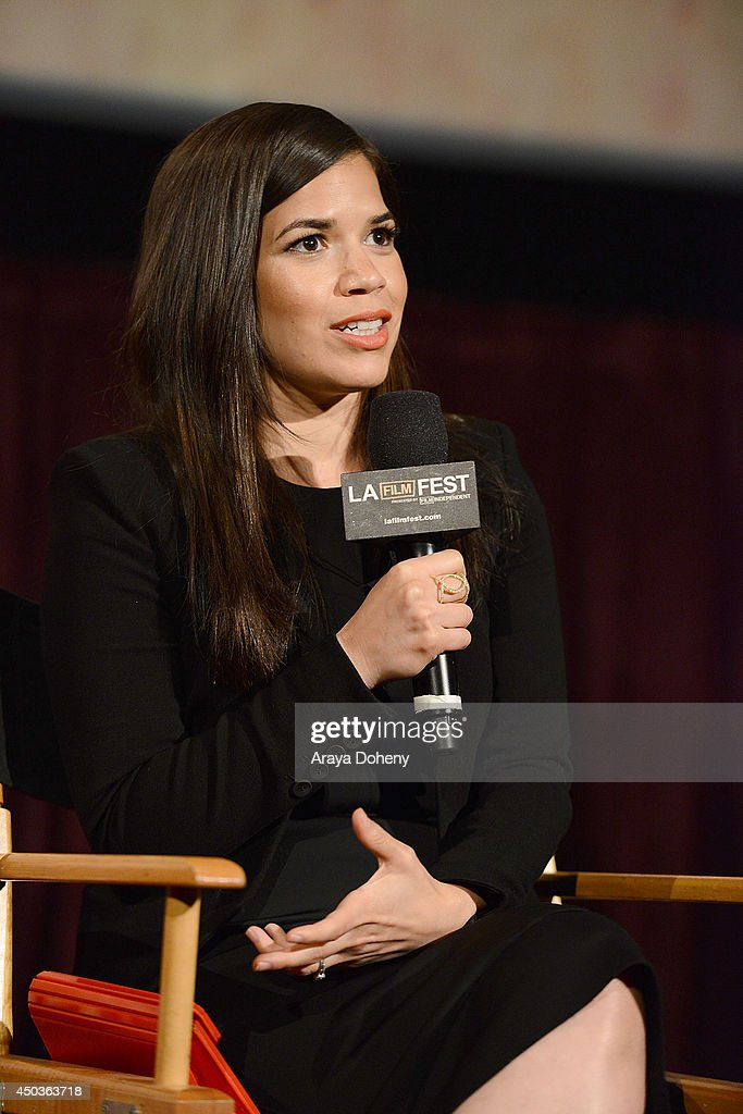 <a gi-track='captionPersonalityLinkClicked' href=/galleries/search?phrase=America+Ferrera&family=editorial&specificpeople=216393 ng-click='$event.stopPropagation()'>America Ferrera</a> attends the LA Film Festival pre-festival screening and Q&A of 'How To Train Your Dragon 2' at Regal Cinemas L.A. Live on June 9, 2014 in Los Angeles, California.