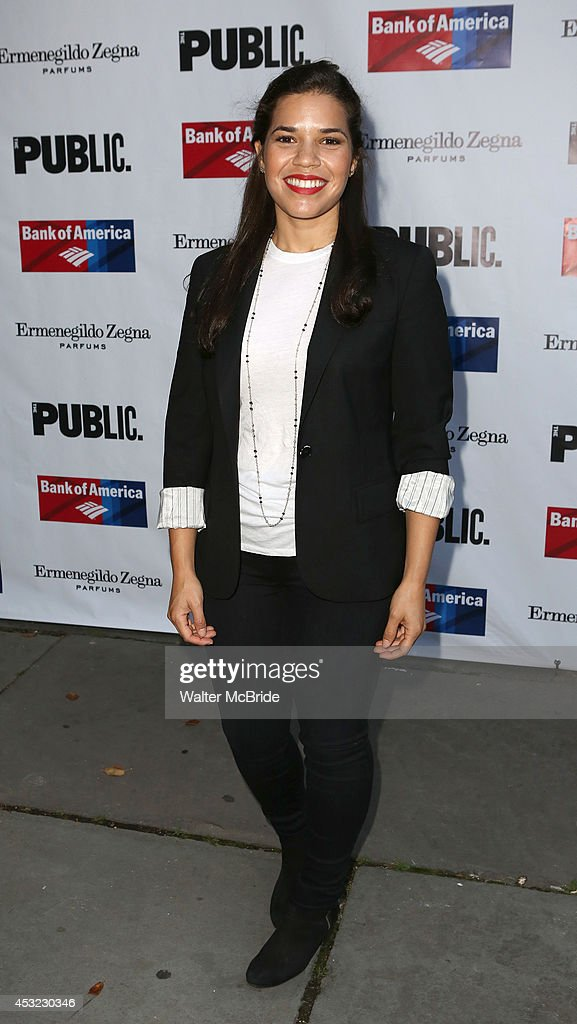 <a gi-track='captionPersonalityLinkClicked' href=/galleries/search?phrase=America+Ferrera&family=editorial&specificpeople=216393 ng-click='$event.stopPropagation()'>America Ferrera</a> attends the The Public Theatre's Opening Night Performance of 'King Lear' at the Delacorte Theatre on August 5, 2014 in New York City.