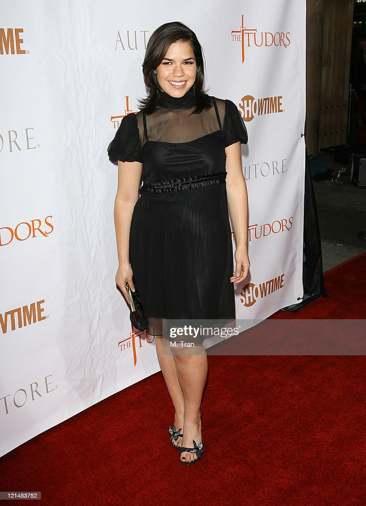 America Ferrera during 'The Tudors' Los Angeles Premiere - Arrivals at Egyptian Theatre in Hollywood, California, United States.