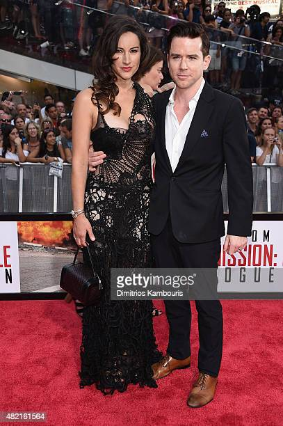 America Olivo and Christian Campbell attend the New York premiere of Mission Impossible Rogue Nation at the AMC Lincoln Square in Times Square on...