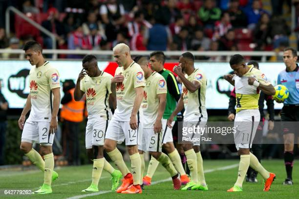 America players look dejected after losing the 7th round match between Chivas and America as part of the Torneo Clausura 2017 Liga MX at Chivas...