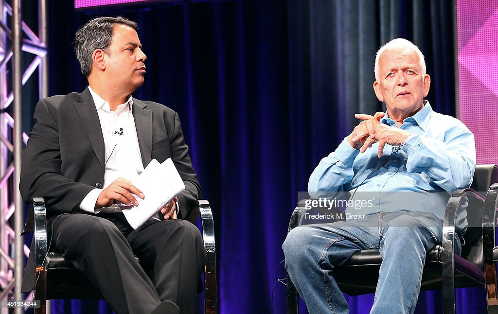 America Senior Vice President of Programming Richard De Croce (L) and writer Andrew Davies speak onstage at the 'A Poet in New York' panel during the BBC America portion of the 2014 Summer Television Critics Association at The Beverly Hilton Hotel on July 9, 2014 in Beverly Hills, California.