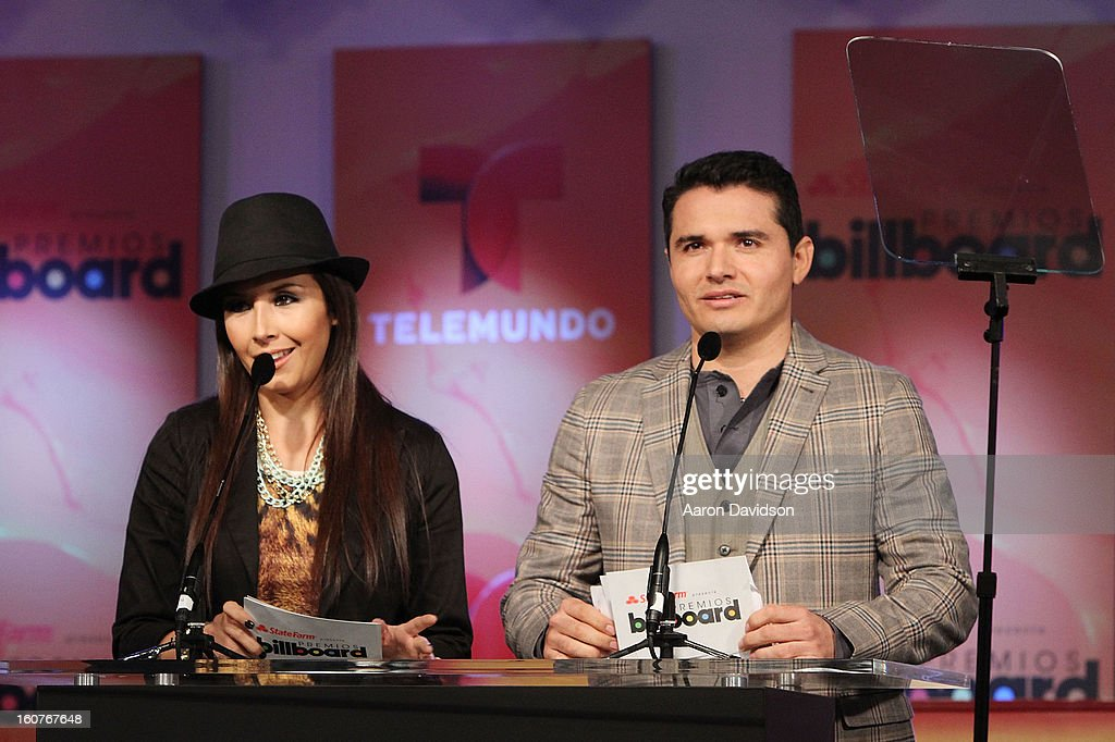 America Sierra and Horacio Palencia attends Telemundo and Premios Billboard 2013 Press Conference at Gibson Miami Showroom on February 5, 2013 in Miami, Florida.