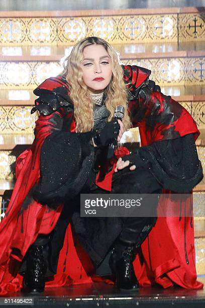 America singer Madonna performs onstage during her concert Rebel Heart Tour on February 20 2016 in Macau China