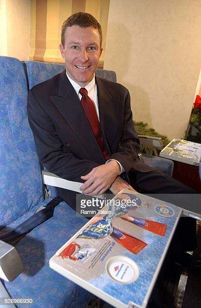 America West Airlines Executive Vice President J Scott Kirby in conjunction with America SkyMedia announced the launch of tray table advertisements a...