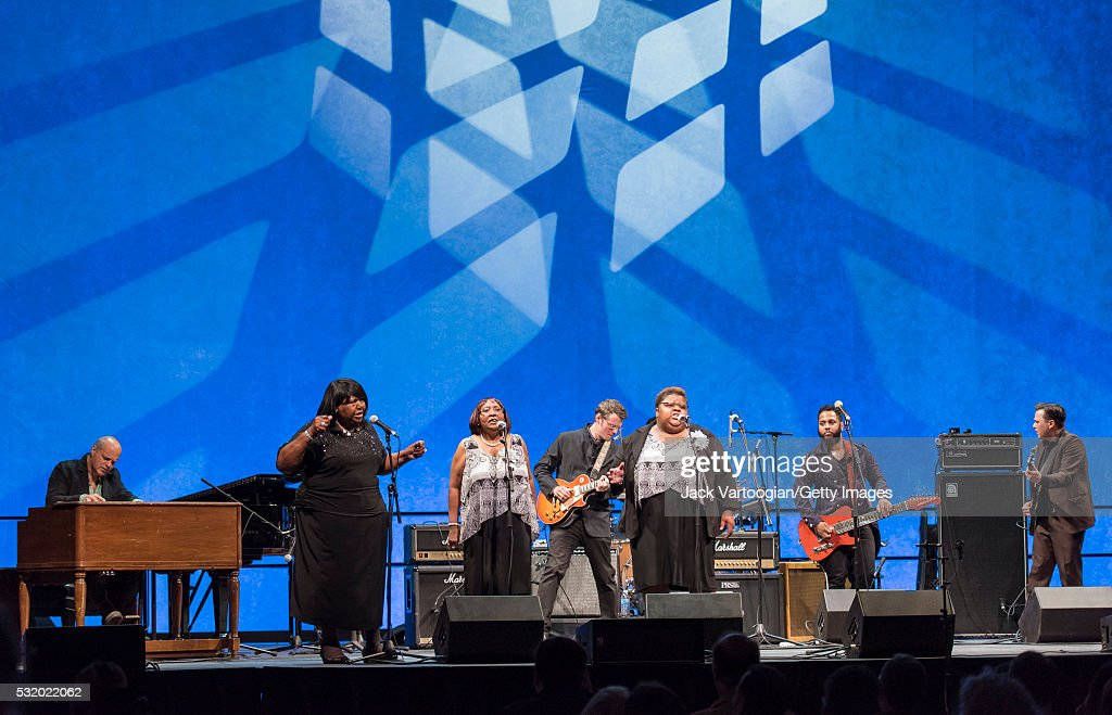 American a cappella gospel group the Como Mamas perform onstage during the the New York Guitar Festival's 'Ring the Golden Bells Celebrating 101...