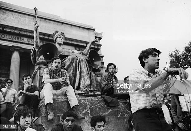 American activist Mark Rudd president of Students for a Democratic Society addresses students at Columbia University May 3 1968