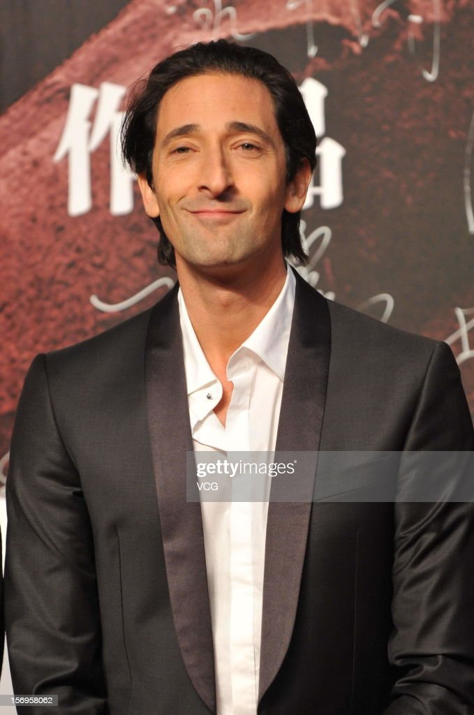 American actor <a gi-track='captionPersonalityLinkClicked' href=/galleries/search?phrase=Adrien+Brody&family=editorial&specificpeople=202175 ng-click='$event.stopPropagation()'>Adrien Brody</a> attends 'Back To 1942' Premiere at National Indoor Stadium on November 25, 2012 in Beijing, China.