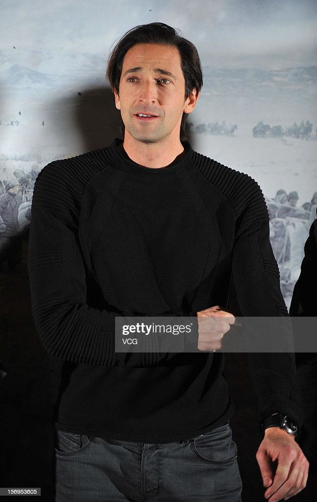 American actor <a gi-track='captionPersonalityLinkClicked' href=/galleries/search?phrase=Adrien+Brody&family=editorial&specificpeople=202175 ng-click='$event.stopPropagation()'>Adrien Brody</a> attends 'Back To 1942' press conference at Westin Hotel on November 25, 2012 in Beijing, China.