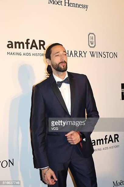 American actor Adrien Brody attends the 2016 amfAR Hong Kong gala at Shaw Studios on March 19 2016 in Hong Kong China
